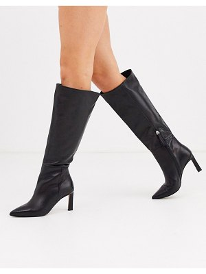 ASOS DESIGN cyprus premium leather pull on knee high boots in black