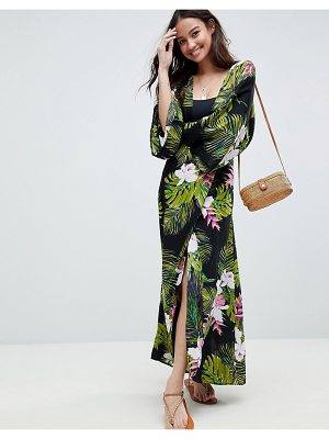 ASOS DESIGN Dark Tropical Print Long Sleeve Plunge Beach Maxi Dress