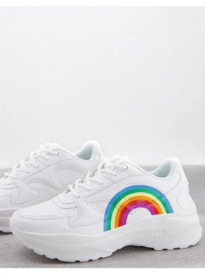 ASOS DESIGN degree chunky sneakers with rainbow print in white