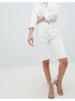 ASOS DESIGN denim high rise longline short in white