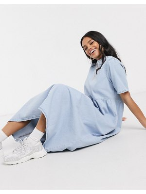 ASOS DESIGN denim soft midi smock dress in blue