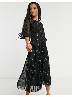 ASOS DESIGN dobby pleated shirred midi dress in playful floral print-multi