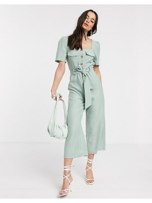 ASOS DESIGN dseign square neck button front jumpsuit with tie waist in sage-green