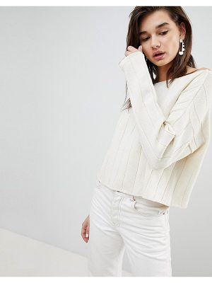 ASOS DESIGN eco off shoulder cropped sweater in oversized rib