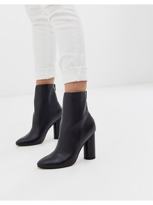 ASOS DESIGN egypt leather heeled boots in black