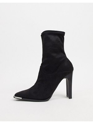 ASOS DESIGN electra high heeled ankle sock boots in black