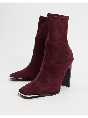 ASOS DESIGN electra high heeled ankle sock boots in burgundy-red