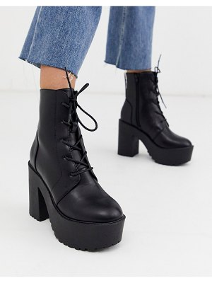 ASOS DESIGN elements chunky lace up boots in black