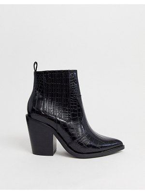 ASOS DESIGN elliot western ankle boots in black croc