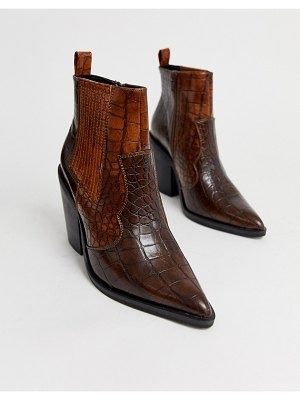 ASOS DESIGN elliot western ankle boots in brown croc
