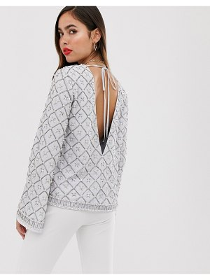 ASOS DESIGN embellished long sleeve top with low back detail-no color