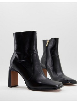 ASOS DESIGN embrace leather high-heeled square toe boots in black