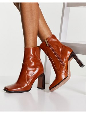 ASOS DESIGN embrace leather high-heeled square toe boots in tan-brown