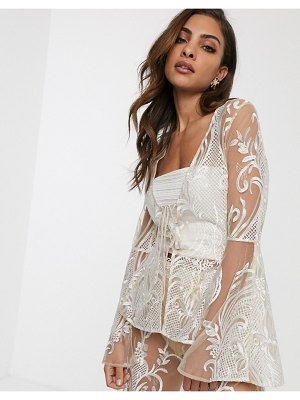 ASOS DESIGN embroidered jacket two-piece with lace up detail-multi