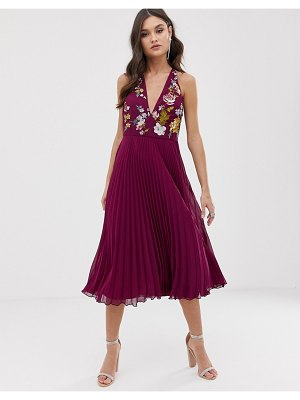 ASOS DESIGN embroidered midi dress with halter neck and pleated skirt-multi