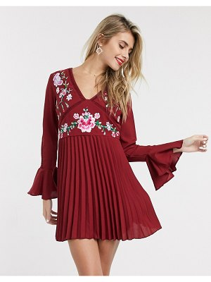 ASOS DESIGN embroidered pleated mini dress with lace inserts