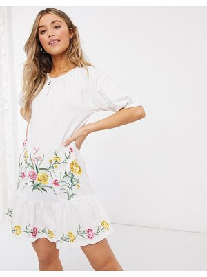 ASOS DESIGN embroidered smock midi dress with puff sleeve in white
