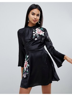 ASOS DESIGN embroidered wrap front mini dress