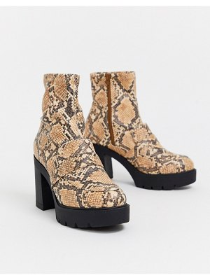 ASOS DESIGN europe chunky loafer boots in snake-multi