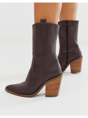 ASOS DESIGN excuse western pull on boots in brown