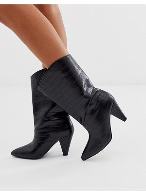 ASOS DESIGN experiment pull on boots in black croc