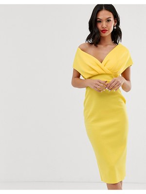 ASOS DESIGN fallen shoulder midi pencil dress with tie detail-yellow