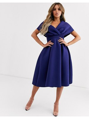 ASOS DESIGN fallen shoulder midi prom dress with tie detail-blue