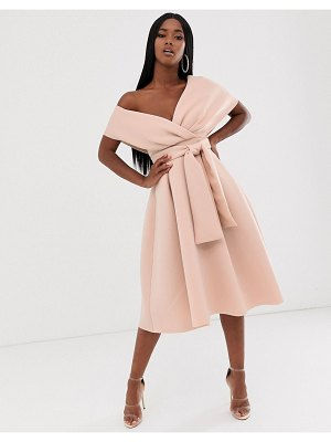 ASOS DESIGN fallen shoulder midi prom dress with tie detail-brown