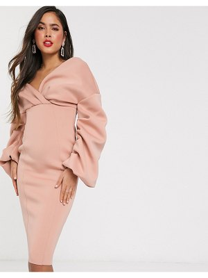 ASOS DESIGN fallen shoulder pleated puff sleeve pencil midi dress in rose-beige