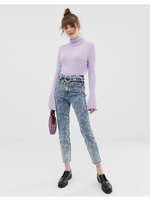 ASOS DESIGN farleigh slim mom jeans with diamonte double belt detail