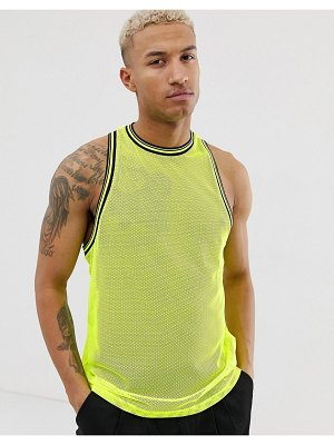 ASOS DESIGN festival relaxed racer tank in neon mesh with tipping