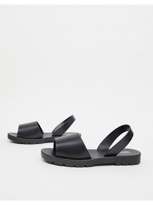 ASOS DESIGN finale jelly flat sandals in black