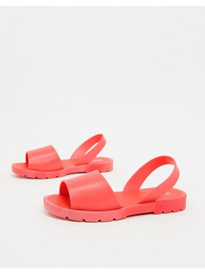 ASOS DESIGN finale jelly flat sandals in coral-orange