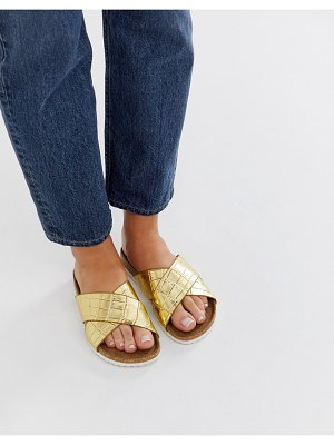 ASOS DESIGN flare cross strap sliders-gold