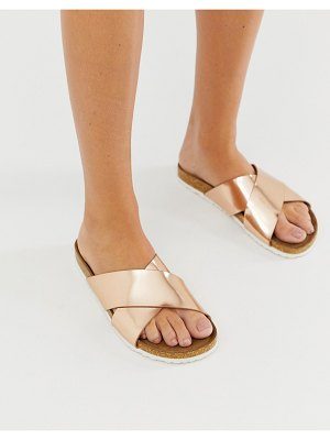 ASOS DESIGN flare cross strap sliders in rose gold