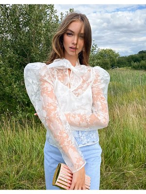ASOS DESIGN floral organza long sleeve top with pussybow in ivory-white