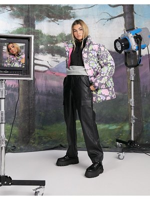 ASOS DESIGN floral puffer jacket with detachable sleeves-multi