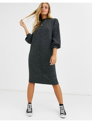 ASOS DESIGN fluffy midi dress with seam detail-gray