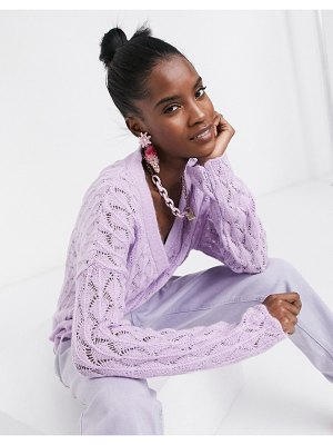 ASOS DESIGN fluffy stitch detail cardigan in lilac-purple