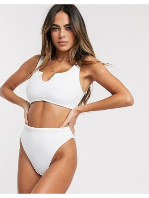 ASOS DESIGN fuller bust recycled mix and match crop bikini top with notch in white dd-g