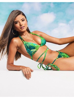 ASOS DESIGN fuller bust swim glam mix and match sleek triangle multiway bikini top in exotic palm print dd-g