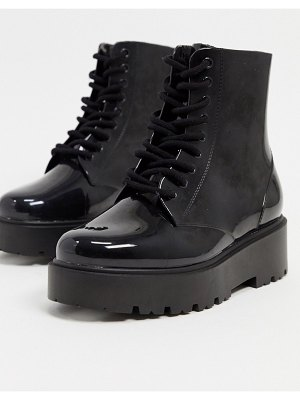 ASOS DESIGN generate lace up wellie boots in black