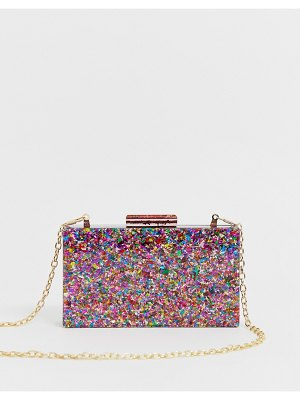 ASOS DESIGN glitter boxy clutch bag