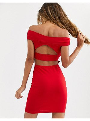 ASOS DESIGN going out bardot cut out back detail mini dress-red