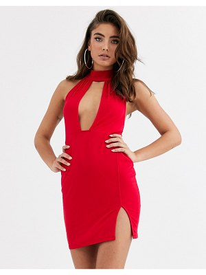 ASOS DESIGN going out deep plunge mini dress-red