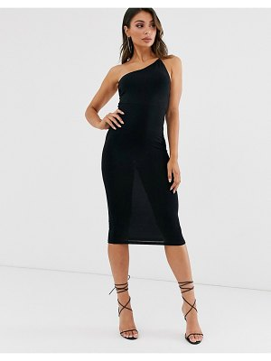 ASOS DESIGN going out one shoulder bodycon midi dress-black