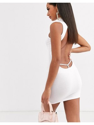 ASOS DESIGN going out strap back mini dress in white