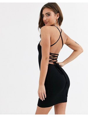 ASOS DESIGN going out strappy back mini dress in black