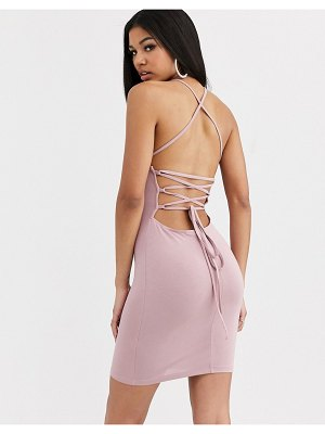 ASOS DESIGN going out strappy back mini dress in tan-beige