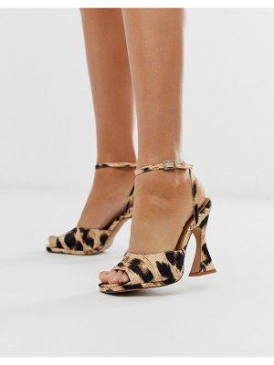 ASOS DESIGN hakka platform heeled sandals in leopard-multi